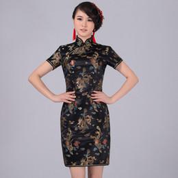 Black Traditional Chinese Classic Dress Mujere Vestido Women s Satin Cheongsam  Mini Qipao Size S M L XL XXL XXXL 4XL 5XL 6XL 5758f9e889df