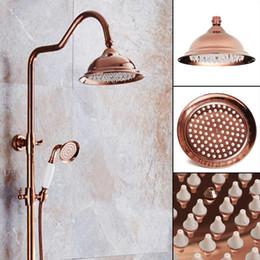 2019 cortina led que cambia de color Nuevo 8 pulgadas Antique Vintage Red Copper Rose Gold Round Bathroom Rain Shower Head Baño casero Producto