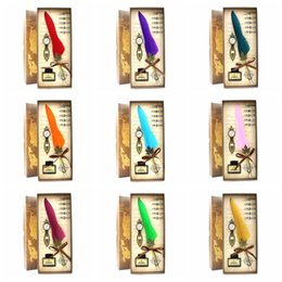 Regalo di harry potter regalo online-Harry Potter penna di piume 18colors penna stilografica piuma regalo di san valentino harry Potter penna ufficio scuola senza inchiostro GGA851 20 set