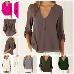Wholesale Women T Shirt Large - 12 Colors Women Models Long Sleeve V Collar Loose Large Size Chiffon Shirt Maternity Clothing Spring Casual Women T shirt