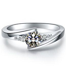 Wholesale Hot sell Звезда мерцание синтетический бриллиант обручальное кольцо стерлингового серебра ювелирные изделия K белое золото покрытием Semi Mount настройки кольцо
