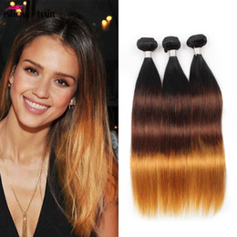 Wholesale Omber Hair Extensions - 2018 New Arrival Ishow Omber Brazilian Virgin Hair Peruvian Malaysian straight 3bundles Three Tone 1B 4# 30# Ombre Indian Hair Extensions