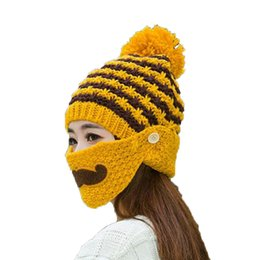90dc1188 China Winter Warm ladies knitted hat and beard mask sets Women plus velvet  cap masks thickened