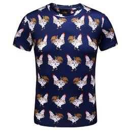 Wholesale Time Cock - 2018 Summer New Short Sleeve Male Leisure Time Cock Pattern Printing T High Shirt Zipper Tshirts For Men Men's Clothing T-shirt Fashion