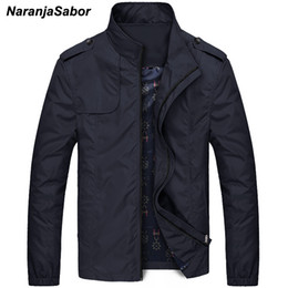 Wholesale blue trench coats - NaranjaSabor Mens Brand Clothing 2018 Autumn Men's Jackets Spring Mens Coats Slim Trench Male Windbreaker Casual Outerwear 4XL