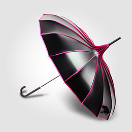 Wholesale Ladies Sunny - Pagoda Vinyl Sun Umbrella Long Handle Sunscreen UV Sunshade Creative Lady Black Umbrella 5 Colors Mixed