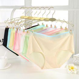 Wholesale Nylon Spandex Underwear Women - Wholesale-Hot Sale Summer Seamless Women Panties 82% Nylon Ultra-thin Sexy Women Briefs Plus Size Female Underwear Ice Silk Panties