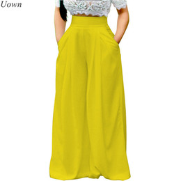 Wholesale Wide Leg Pants Culottes - Uown Women Casual Loose Palazzo Pants High Waisted Wide Leg Trousers Pleated Long Culottes Pants Stretch Trouser with Pockets