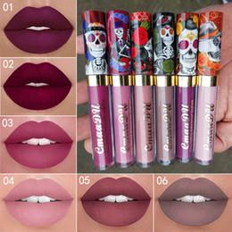 Wholesale skull colors - New Makeup CmaaDu Matte 6 Colors Liquid Lipstick Waterproof and Long-lasting Skull Tupe Lipsticks Lip Make up Lipgloss 3001318