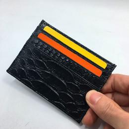 Schlange münzen tasche online-Schwarzer Schlangen-Leder-Kreditkarteninhaber-Geldbörsen-hohe Qualität Identifikations-Karten-Kasten für Mann Womans 2018 Neuheits-Mode-dünne Münzen-Geldbeutel-Taschen-Tasche