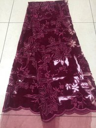 Wholesale wine colored lace fabric - 2018 new design wine color embroidery fabric in Nigeria in 2018 France flannel lace fabric 5 yards