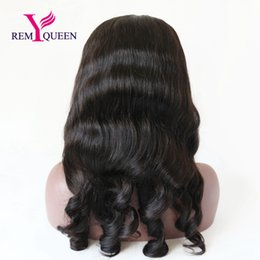 Wholesale Factory Outlet Baby - Remy Queen Brazilian Loose Wave Front Lace Wig 2018 News Natural Hairline With Baby Hair 1 1B 2 4 Natural Color130% Density Factory Outlet