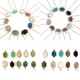 Anhänger ohrringe online-10 STYLES Druzy Drusy Halskette Ohrringe Kendra Harz Stein Scott Hexagon Anhänger Halskette Stud Charms Schmuck für Frauen
