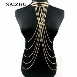 2017 Gold Color Necklace Women Punk style Collar Choker necklace Multilayers tassel Hollow out body women от