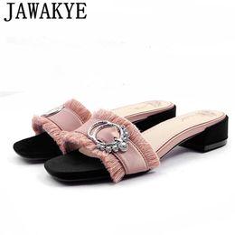 Wholesale Bonding Rings - Summer satin Women Slippers metal ring crysatl pink black Ladies low heel sandals fringe tassel rhinestone 2018 Beach Shoes