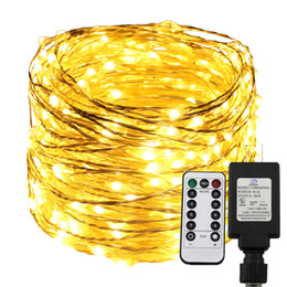 Adaptadores ac para luzes de natal on-line-RemoteTimer Regulável Led String Light 300/500 LEDs Luzes estreladas, 30M / 50M Warm White Christmas Fairy String Lights + UL US Adapter