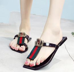 Wholesale indoor outdoor design - Summer Beach flip flops female sandals black stripes casual brand design flat sandals and slippers outdoor ladies slippers elegant fashion