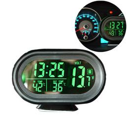 2019 termómetro digital 12v 12 V / 24 V Digital Auto Car Thermometer Voltímetro de la Batería Del Coche Medidor de Voltaje Voltaje Tester Monitor Noctilucous Clock Freeze Alert termómetro digital 12v baratos