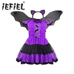 Wholesale Dance Costumes For Kids - Fancy Masquerade Party Girl Bat Costume Children Cosplay Dance Dress Costumes for Kids Purple Halloween Clothing Lovely Dresses