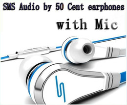 Wholesale Sms Audio Wired Ear - 100pcs DHL wholesale Mini SMS Audio by 50 Cent In-Ear earphones with Mic microphone 50Cent Street headphones Black White red With retail Box