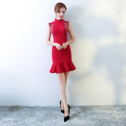 Wholesale Sleeveless Cheongsam - HYG83 Summer Dress Red Bodycon Dress Flouncing Sleeveless Vest Fishtail A-line Dress Women Dresses Wedding Dresses Red Cheongsam