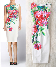 Wholesale elegant slim office dress - Cyan Casual Summer Dress Women Sexy Slim Floral Vintage Ladies Office Dress Elegant Party Dresses Plus Size 4xl Vestidos