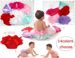 Wholesale Infant Ruffles - Lovely Baby Ruffles Chiffon Bloomer Tutu Infant Toddler Cotton Silk Bow Skirt Shorts Kids Layers Skirt Diaper Cover Underwear PP Shorts