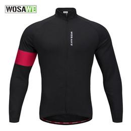 Wholesale Men S Winter Cycling Jacket - WOSAWE Autumn Winter Fleece Long Sleeved Running Coat Cycling Jacket Windproof Cycling Coat BC204