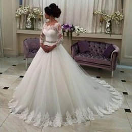 Wholesale Tulle Wedding Gowns Color Belt - Hot Lace Long Sleeve Wedding Dress Bridal Gowns With Belt Court Train Lace Up Bridal Gowns Wedding Dresses