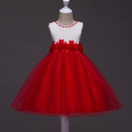 Wholesale First Communion American Girl - I Love wedding Flower Girl Dresses First Communion Dresses Baby Girl Clothes