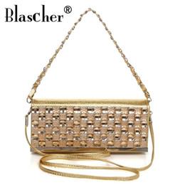 Blascher 2017 nuove donne di lusso designer PU catena di cristallo Shouder Bag frizioni moda champagne e borse da sera per ragazza delle signore da