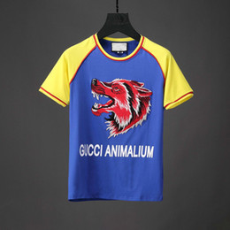 Wholesale Designer Tshirts For Men - Summer Fashion Wolf Applique Letters Printed Mens Designer Brand Short-sleeved Men's Clothing Youth T-shirt T Shirt For Tshirts
