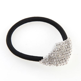 Wholesale Ponytail Holder Silver - ELOS-Silver Plated Diamond Shape Elastic Band Hair Tie Ponytail Holder