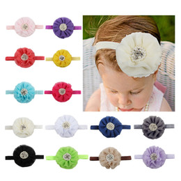 flowered headband diamonds Coupons - Simple Knitting Headbands With Pearl Diamond Chiffon Flowers Hair Band For Baby Comfortable Headwrap Factory Direct Sale 2 45ml B