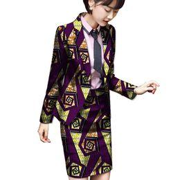 Wholesale Purple Tailored Jacket - Africa Print Women Skirt Suits 2 Pieces Festive Ladies Fashion Suit Jacket Tailored Festive Costume Suit Coat And Skirt Sets
