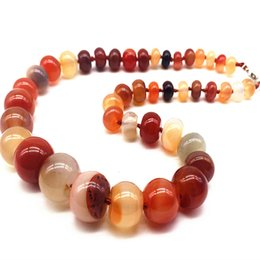 Wholesale Red Carnelian Beads - whole saleFashion Woman Choker Necklace Knotted Stone Bead Graduated Necklace Carnelian Red Stone Abacus Wheel Bead Jewelry