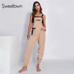 3e4e890c50f Sweetown Casual Off Shoulder Strapless Jumpsuit Korean Style Long Jumpsuit  Khaki Autumn 2018 Rompers Womens Jumpsuits Streetwear