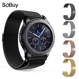 2019 sport magnetischen armband So kaufen Sie für Samsung Gear S2 Gürtel S3 Sport magnetische Schnalle Uhrenarmband Edelstahl Schleife Band Milanese Armband Metallarmband rabatt sport magnetischen armband