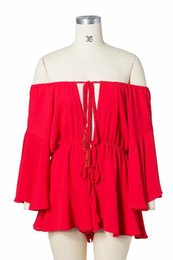 2019 mamelucos amarillos para mujeres 2018052328 Off Shoulder Yellow Sexy Playsuits Mujeres Big Flare Sleeve monos rojos 2018 Beach Party Casual Lace Up Rompers mamelucos amarillos para mujeres baratos