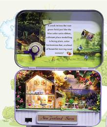 Wholesale Model Farm - Miniature Tin Box Dollhouse with Furnitures,DIY Dollhouse Kit Toy for Kid's Gift,Cute Miniature New Zealand Farm Model In Box