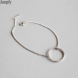 pulsera de enlace de la libra esterlina Rebajas Jsmpfy 925 Sterling Silver Bracelet Bracelet Simple Round Circle Charms Link Chain Pulseras Para Mujeres Pulseras Feminina