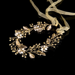 Wholesale Gold Rhinestone Wedding Bridal Tiara - Leaves Wedding Hair Accessories Bridal Hair Vine Wedding Headband crystal tiaras and crowns Head Piece hair decoration
