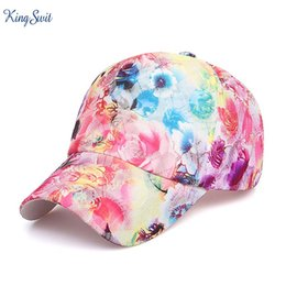Wholesale fast fresh - 2018 New Summer Baseball Cap For Women Classic Quality 3D Printing Fresh Flowers hat Bone Casual Dry-fast Breathable Beret