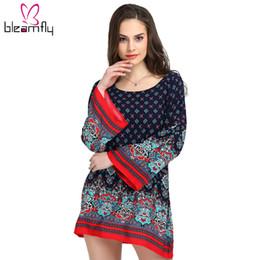 Wholesale tunic shift dress - Women Boho Vintage Dress Long Sleeve Beach Loose Bohemian Tunic for Female Maxi Plus Size 3XL Clothing Fall Autumn Ethnic Shift