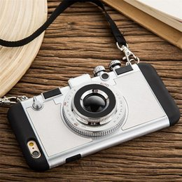 Wholesale Camera Iphone Cases - Luxury 3D Retro Camera Phone Case For Iphone X 6 6s 7 7Plus 8 8Plus Soft Tpu Case With Lanyard Back Cover
