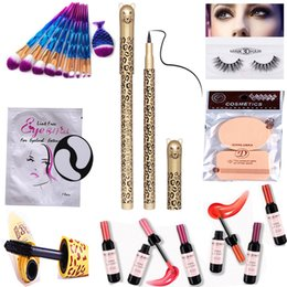Wholesale Wine Pads - Makeup Sets Tool Make up Brushes Mink Eyelash Red Wine Bottle Lipstick Mascara Fake Eyelashes Silk Eye Pads Under Patch Eyeliner Powder Puff