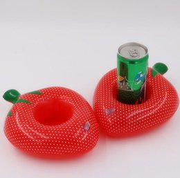 Wholesale Outdoor Wedding Supplies - Strawberry Inflatable Drink Cup Holders Wedding Birthday Party Supply Water Swimming Strawberry Pool Outdoor Toys gift GGA375 300PCS