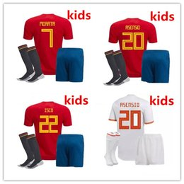 Wholesale kids shirts sale - Best puality Spain kids Soccer Jersey 2018 world cup Spain kids red white soccer shirt 2018 MORATA ISCO ASENSIO Football uniforms sales