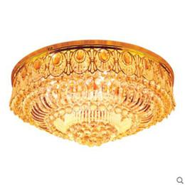 Люминесцентные лампы онлайн-Modern minimalist golden LED circular living room crystal lamp creative lamps atmospheric  hall ceiling lighting fixture