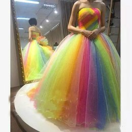 e3c8ad73fb 2018 Rainbow Quinceanera Dresses Organza Prom Dress Strapless Backless Ball  Gown Plus Size Floor Length Party Dress Evening Gowns